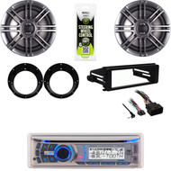 "Dual Bluetooth Receiver, Harley FLHT 98-2013 Dash Kit, 6.5"" Speakers & Adapters"