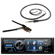 "JVC KD-AV41BT 3"" Single-Din Car Receiver with Bluetooth, DVD, USB, Remote and IPhone Control, Metra 40-GM10 GM Antenna Adapter, EKMR1 Enrock Marine Black Wire Antenna"