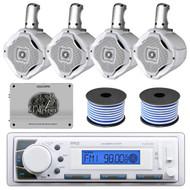 """Marine 1600W Amplifier,4 Marine 6.5"""" Speakers & Wires, USB AUX AM FM Receiver"""