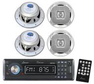 New Lanzar AQMP70BTB MP3 Radio Player W/ wireless Bluetooth 4 Round Speakers Pkg