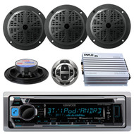 New Kenwood Marine Boat CD MP3 WMA Radio USB Receiver 4 Speakers W/400W Amp Pkg