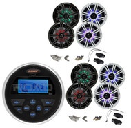 "Jensen Boat AM/FM USB AUX Marine Radio, 4 Kicker Marine 6.5"" Coaxial Speaker Set"