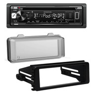 Kenwood Bluetooth CD Car Radio, 98-2013 Harley FLHX DIN Kit, Harley Radio Cover