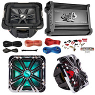 "Marine Car Subwoofer And Amp Combo: Kicker 11S12L74 12"" Audio Subwoofer Speaker + 12"" Chrome Grill With LED Lighting + Lanzar 2000W Mono Block Stereo Amplifier + 8 Gauge Marine Amplifier Installation Kit"