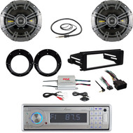 99-9600 Harley FLHX DIN Kit, Bluetooth Stereo, Kicker Speaker Set, Amp, Antenna