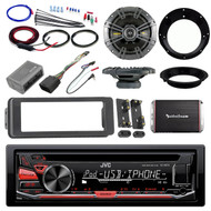 "98-2013 Harley JVC CD Adapter DIN Kit, Kicker 6.5"" Speaker Set, Amplifier Set"