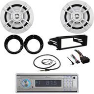 Marine CD Bluetooth Radio, Harley FLHX Install Kit, Speakers, Adapters, Antenna