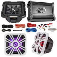"Marine Car Subwoofer And Amp Combo: Kicker S12L74 12"" Audio Subwoofer Speaker + 12"" White Grill With LED Lighting + Lanzar 2000W Mono Block Stereo Amplifier + 8 Gauge Marine Amplifier Installation Kit"