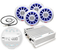 "White Pyle Bluetooth Mp3 Marine Radio,Antenna,400W Amplifier,LED 6.5""Speaker Set"
