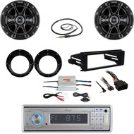 98-2013 Harley FLHX Install DIN Kit, CD Stereo, Amp, Antenna, Kicker Speaker Set