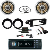 "6.5"" Polk Speakers/Adapters,Harley FLHT Install Kit,Amp,Antenna,Bluetooth Stereo"