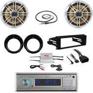"Bluetooth USB Stereo, Harley FLHT Install Kit, Adapters,6.5"" Speakers, Antenna"