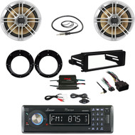 Bluetooth CD Radio,FLHT Harley Install Kit, 400W Amp, Speakers/Adapters,Antenna