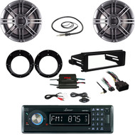 "Bluetooth Stereo- Harley FLHT DIN Kit, 400W Amp, Antenna, 6.5"" Speaker/ Adapters"