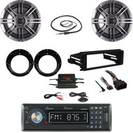 "98-2013 Harley FLHX DIN Kit, 400W Amp, CD Boat Stereo, 6.5"" Speaker Set, Antenna"
