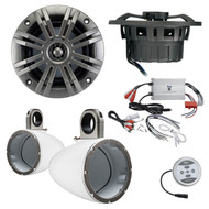"Marine Speaker Package of 1 Pair (Total of 2) Kicker 41KM652C 6.5"" 2-way Marine Boat Audio Speakers Bundle Combo With Kicker KMTESW 6""-6.5"" Dual Wakeboard Tower Enclosures + Pyle 600 Watt Waterproof Stereo Amplifier"