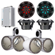"Marine Speaker Package of 2 Pairs (Total of 4) Kicker KM654LCW 6.5"" LED Light Marine Boat Audio Speakers Bundle Combo With 2x Kicker KMTEDW Dual Wakeboard Tower Enclosures + Waterproof Bluetooth 400 Watt Amplifier"