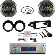 Lanzar USB Radio, Amp, Harley FLHX Dash Install Kit, Antenna, Kicker Speaker Set