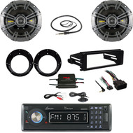 "Lanzar Bluetooth Stereo, Harley FLHT FLHX DIN Kit, Amp, 6.75""Speaker Set, Antenna"