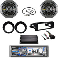 "Bluetooth Motorcycle Harley FLHX Install Kit, Amp, 6.75"" Speaker Set, Antenna"