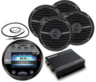 "Black 6.5""Speakers,Black Round Bluetooth AUX Marine Radio,Antenna,400W Amplifier"