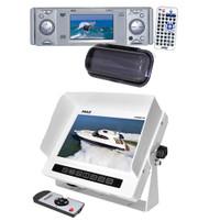 "New Pyle PLDMR3U In Dash Boat DVD CD Radio Player & 7"" LCD Marine Monitor/Remote"