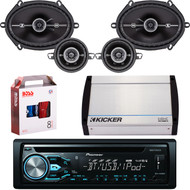 "DEH-X4900BT Bluetooth CD MP3 USB Player & Remote, Pair Kicker 41DSC684 6x8"" 4-Ohm Car Speakers, Pair Kicker 3.5"" Coaxial Car  Speakers, Kicker 4-Channel 400 Watts Marine Amp, 8 Gauge Car Amp Install Kit"