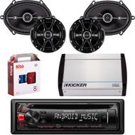 """Kenwood KDC-122U Car Audio CD USB Strereo, Pair Kicker 41DSC684 6x8"""" 4-Ohm Car Speakers, Pair 41DSC654 Kicker 6.5"""" Car Speaker, Kicker 4-Channel 400 Watts Marine Amp, 8 Gauge Car Amp Install Kit"""