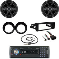 Bluetooth CD Stereo, Antenna, Harley FLHTC FLHT Install Kit, Kicker Speaker Set