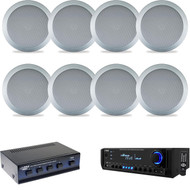 """6.5"""" Silver In-Ceiling Speakers,Pyle USB AMFM AUX Home Receiver,Speaker Selector"""