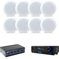 """6.5"""" 2Way Pyle In-Ceiling Speakers, Speaker Selector, Pyle USB  SD Home Receuver"""