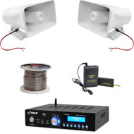 "8"" PA Horn Speakers, 200W USB Bluetooth Mini Amp, Lavalier Mic Set, Speaker Wire"