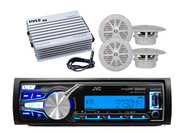 "JVC Car Marine Use USB/AUX iPhone Control Radio w/4"" Speakers,400W Amp, Antenna"