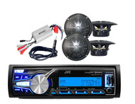 JVC KD-X31MBS AM/FM USB AUX Bluetooth Radio. 4 Black Speakers, 800W Amp, Antenna