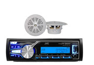 "KDX31MBS Marine Boat USB/AUX AM/FM Bluetooth Receiver w/ 4"" White 100W Speakers"