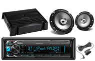 "400W Amplifier,Kenwood Bluetooth iPod AUX USB Car Radio, 2 Kenwood 6.5"" Speakers"