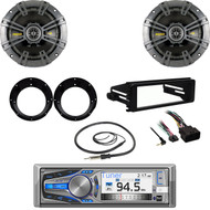 "AM615BT Bluetooth,98-2013 FLHX Dash Install Kit, Antenna, Kicker 6.75""Speaker Set"