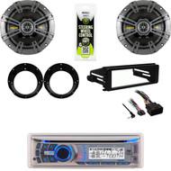AMB600W Bluetooth Stereo, Harley FLHX FLHX Dash Install Kit, Kicker Speaker Set