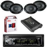 "1 X In Dash Pionner DEHS6000BS In Dash Receiver, 2 X Pair Kenwood KFC6966S  6X9"" Speaker, 1 X Lanzar HTG447 4 Ch Amp"