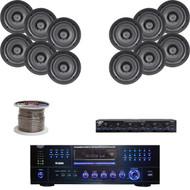 "3000W AM FM DVD USB Receiver,5.25""Wall/In-Ceiling Speakers,Speaker Selector/Wire"