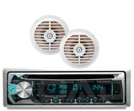 """Kenwood USB Bluetooth CD iPod Marine Radio, 2 White 5.25"""" Marine Enrock Speakers"""
