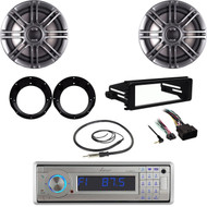 """Polk Marine 6.5"""" Speaker Set,USB Stereo, Harley 98-2013 FLHT Install Kit,Antenna"""