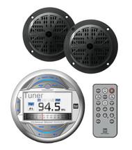 """Marine Dual Bluetooth USB iPod LCD Display Radio&2 100W 4"""" Black Marine Speakers"""