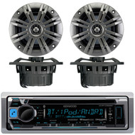 "Kenwood KMR-D368BT Marine Boat Yacht CD MP3 Bluetooth Stereo AM/FM iPod iPhone Radio Player, Pair of Kicker 41KM652C 6.5"" 2-Ohm Marine Speakers"