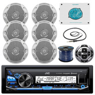 "6 Marine JBL 6.5"" Speakers w/Wires,Bluetooth USB Radio,Remote, 1600W Amp,Antenna"