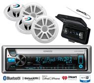"""Antenna, Kenwood Bluetooth CD USB Marine Radio, Cover, 4 Marine 6.5"""" Speaker Set"""