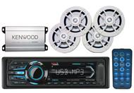 "Boss AUX Bluetooth AM FM USB Marine Radio, 6.5""White Speakers,Kenwood Amplifier"