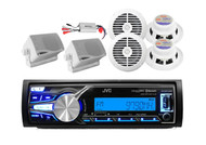 JVC Marine USB AUX iPod Input Receiver, 2 Box + 4 Round White Speakers, 800W Amp