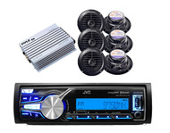 New JVC KD-X31MBS iPod USB AUX iPhone Input Radio, 6 Marine Speakers w/400W Amp