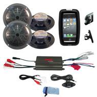 Pyle Outdoor Offroad Bike Set 4 Black Speakers, 800W 4CH iPod Input Amplifier